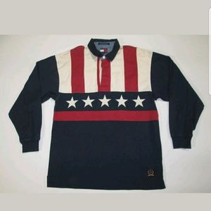 VTG Tommy Hilfiger Polo Rugby 90s USA Flag Shirt